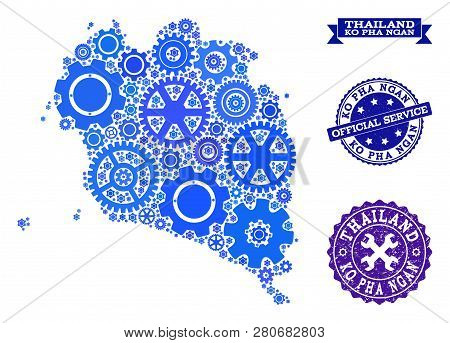 Map Of Ko Pha Ngan Formed With Blue Wheel Symbols, And Isolated Rubber Stamps For Official Repair Se