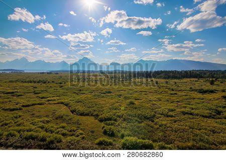 Beautiful Landscape Of Grand Tetons Range
