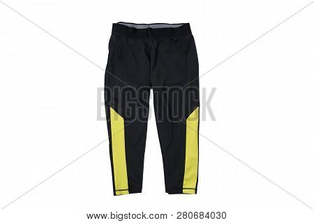 Black Shorts For Sports Flat Lay. Fashion Concept. Isolate On White Background