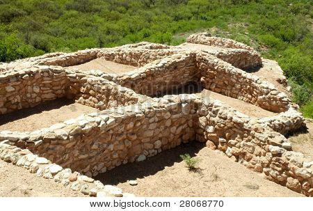 view of walls at the Tuzigoot National Monument stone native american indian ruins