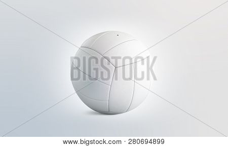 Blank White Volleyball Ball Mock Up, Isolated, Front View, 3d Rendering. Empty Volley-ball Round Moc