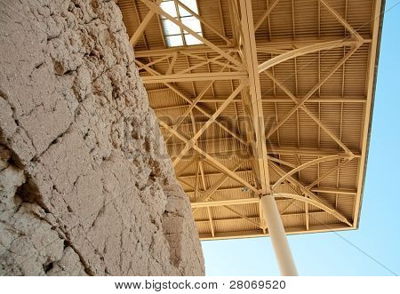 Casa Grande Ruins National Monument  adobe wall ruins and overhang