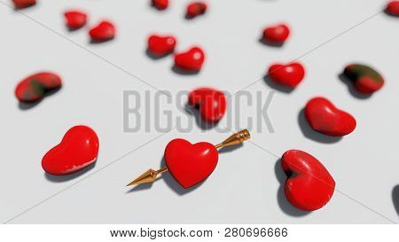 Red Hearts On The White Background, Bokeh, 3d Rendering