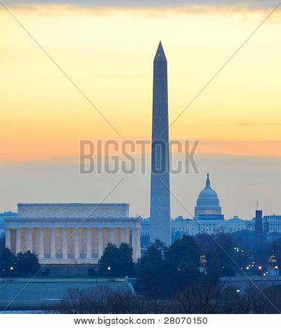 Washington D.C. city view in sunrise, including Lincoln Memorial, Monument and Capitol Hill building