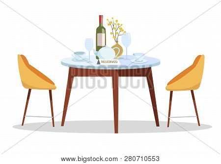 Place For Romantic Date. Reserved Sign On Table In Restaurant. Reserved Table Concept.round Table, S