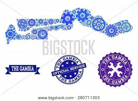 Map of the Gambia designed with blue cog symbols, and isolated grunge watermarks for official repair services. Vector abstract collage of map of the Gambia with job symbols in blue color tones. poster