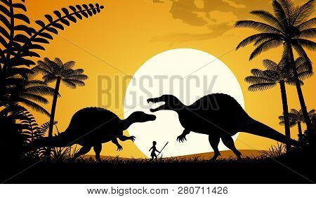 Silhouettes Of Dinosaurs. Two Spinosaurus On Sunset Background. Vector Illustration.