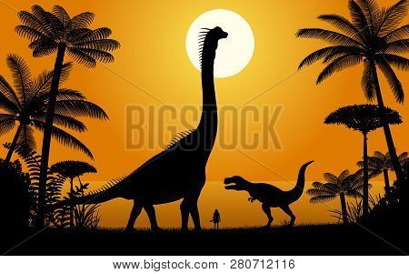 Silhouettes Of Dinosaurs. Two Dinosaurs On Sunset Background. Vector Illustration.