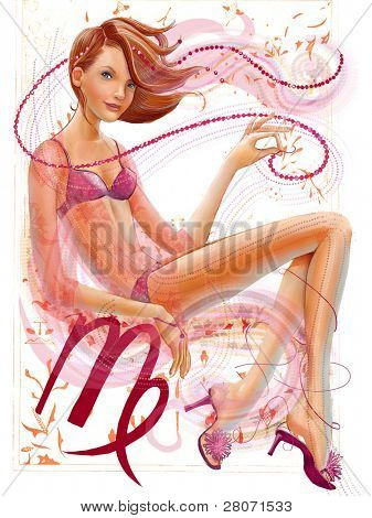 illustration of the glamour girl with big Virgo sign