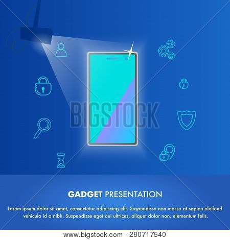 Illustration Event New Gadget Presentation World. Banner Vector Mobile Phone In Light Soffit. Showin