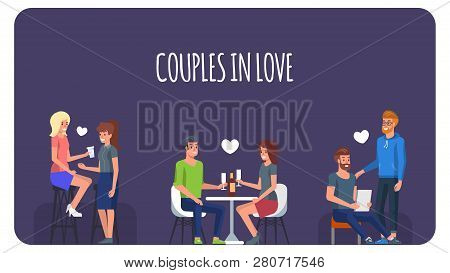 Couples In Love And Happiness. Homosexual And Straight People In Romantic Date. Two Modern Person To