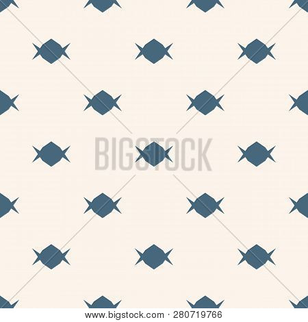 Candy Pattern. Simple Minimalist Vector Seamless Texture With Small Shapes. Abstract Blue And White