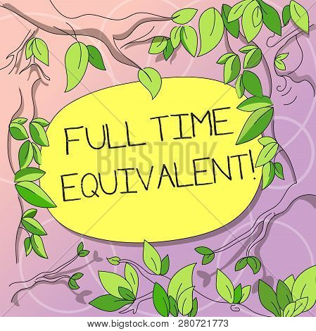 Word writing text Full Time Equivalent. Business concept for Unit that indicates the workload of an employed demonstrating Tree Branches Scattered with Leaves Surrounding Blank Color Text Space. poster