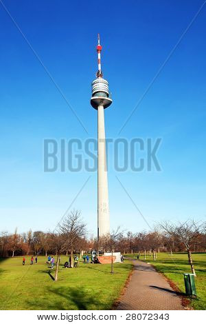 Danube Tower in Vienna city - opened in April 1964, it is the tallest free-standing structure in Austria, at 252 meters (827 ft) poster
