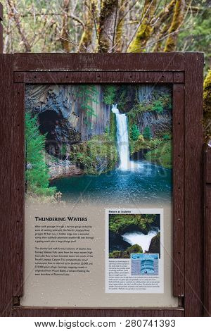 Toketee Falls, Oregon - April 19, 2014:  An Informational Sign Showing How Toketee Falls And The Sur
