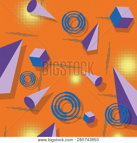 Abstract Geometric Pattern. Memphis Style. Retro, Bright Colorful. Trendy Colors. 3d Pyramids, Cubes