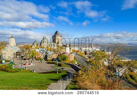 Stunning Panoramic View Of Old Quebec City With Fairmont Le Chateau Frontenac  And Saint Lawrence Ri