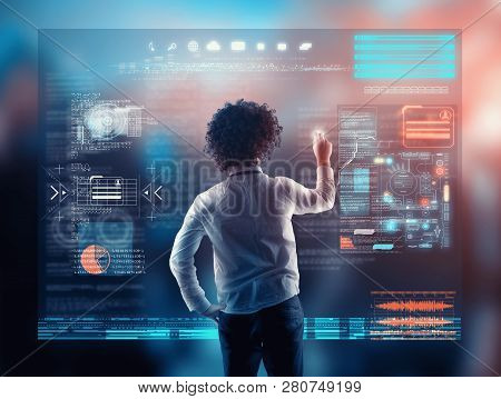 Businessman Working On A Futuristic Media Interface.