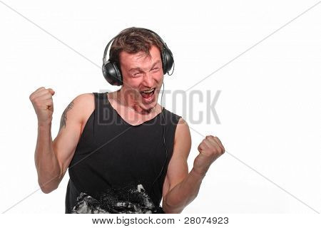 screaming man in headphones