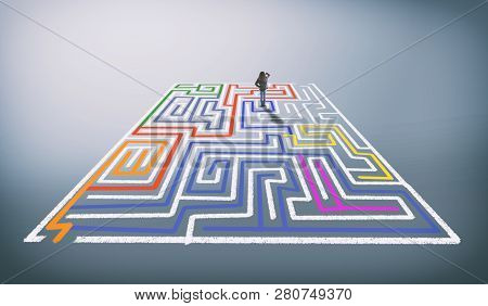 Confused Woman Stands In A Labyrinth With The Wrong Paths Colored