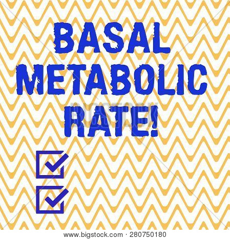 Conceptual hand writing showing Basal Metabolic Rate. Business photo text Minimum energy level require to sustain vital function Horizontal Zigzag Wavy Parallel Line in Seamless Repeat Pattern. poster