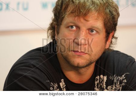 TOMSK, RUSSIA - JULY 1: Aleksander Emelianenko - three-time champion of the World Combat Sambo at a press conference at the agency Inter-fax Siberia, July 1, 2009 in Tomsk, Russia.