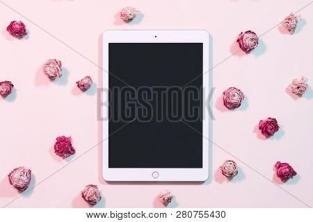 Kharkiv, Ukraine - December 5, 2018: Apple Ipad. Mobile Technology. Tablet Computer With Black Scree