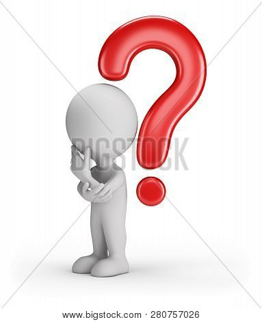 3d Man Wondered Under The Question Mark. 3d Image. White Background.