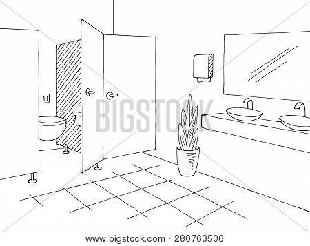 Public Toilet Graphic Interior Black White Sketch Illustration Vector