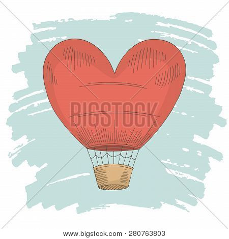 Heart Air Balloon Color Graphic Isolated Sketch Illustration Vector