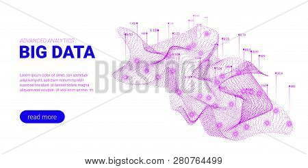 Big Data Visualization. Abstract Technology Background With Glow And Movement Effect. Landing Page F