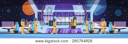 Spaceship Futuristic Interior. Spacecraft Captain Cabin With Pioneer Science Team Command And Astron
