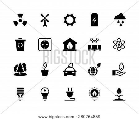 Alternative Energy Black Icons. Renewable Eco Nature Green Water Wind Solar Energy Saving Power Plan