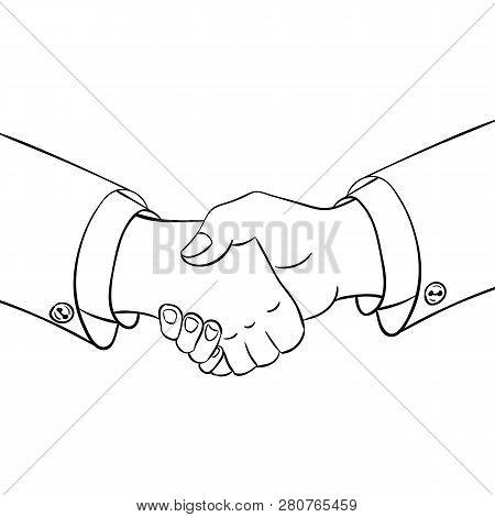 Partneship. Sketch Handshake Isoleted In White Background