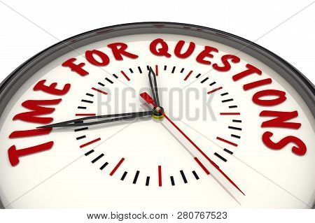 Time For Questions. Analog Clock With Red Text Time For Questions. Isolated. 3d Illustration