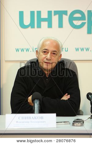 TOMSK, RUSSIA - December 4: Vladimir Spivakov - artistic director and chief conductor of the National Philharmonic Orchestra of Russia in agency Interfax-Siberia, December 4, 2009 in Tomsk, Russia.