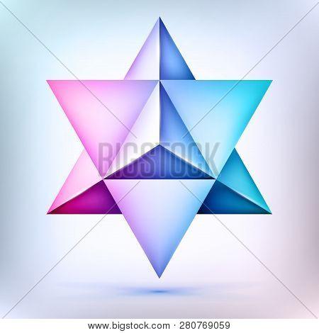 3d Polyhedron Merkaba, Esoteric Crystal, Sacral Geometry Shape, Volume David Star, Mesh Form, Abstra