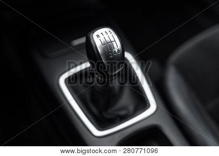 Black Interior Of A Modern Car, Six-speed Manual Shift Car Gear Lever.