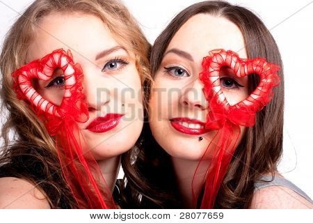 two beautiful girls celebrate Valentine's Day