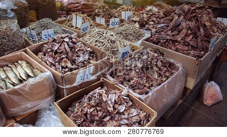 Dried Seafood Market Sell Dried Squid And Fish Or Product From The Sea, Bangkok, Thailand