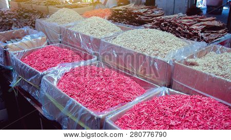 Small Size Of Red And White Dried Shrimp In The Dried Seafood Market, Bangkok, Thailand