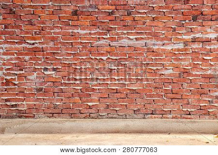 Unfinished Red Brick Wall Background, House Under Construction