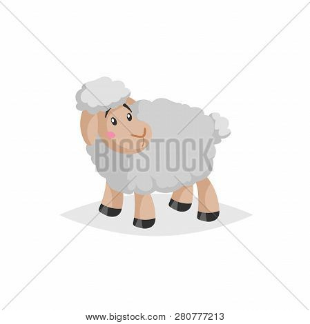 Cartoon Sheep Looking Around. Wooly Cute Farm Animal Stay. Vector Trendy Design Illustration Isolate