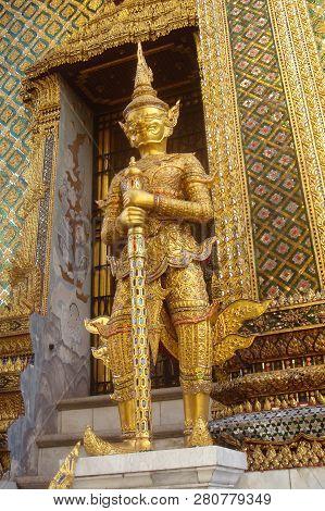 Bangkok, Thailand - May, 2017; Golden Statue Of Ancient Guard In Wat Phra Keao, The Grand Palace, Ba