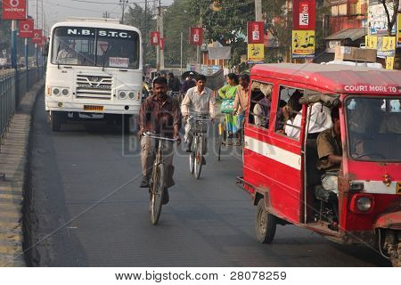 SILIGURI, INDIA - DECEMBER 4: Streets Siliguri - a transit point for air, road and rail traffic to Nepal, Bhutan, Bangladesh and Indian state Sikkim, on December 4, 2008 in Siliguri, India.