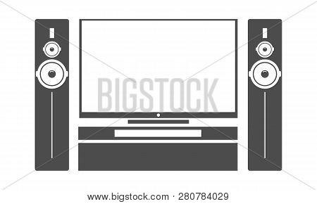 Flat Black Home Cinema Tv Set With Stereo Audio Subwoofer Speaker System. Vector Illustration.