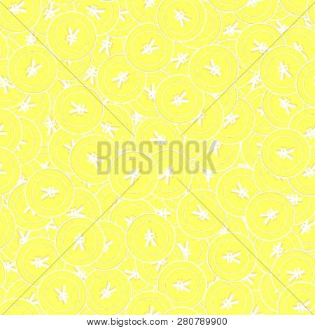 Chinese Yuan Gold Coins Seamless Pattern. Gorgeous Scattered Yellow Cny Coins. Success Concept. Chin