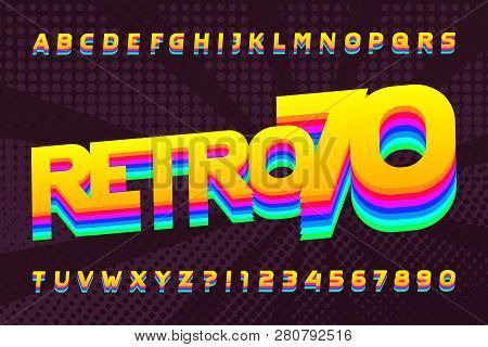 70s Retro Typeface. Uppercase Colorful Letters And Numbers. Halftone Background. Stock Vector Alphab