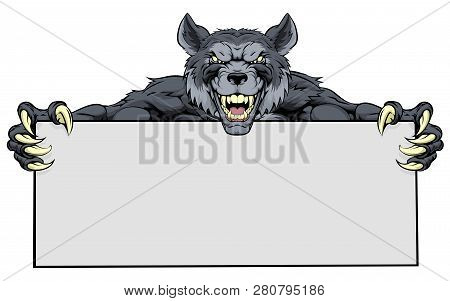 Wolf Werewolf Mascot Holding A Sign Illustration