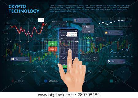 Crypto Online Commerce. Mining Bitcoin Technology On Autonomic Computing Program And Trade Platform.